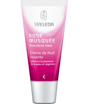 la crème de nuit lissante à la rose musquée premières rides weleda est destinée aux peaux très sèches et lisse les rides avec efficacité.